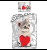 Valentines Sweet Cat - Duvet cover - Single - 140 x 200 cm - Multi