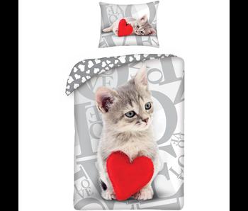 Valentines Sweet Cat Dekbedovertrek 140x200 cm