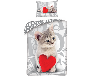 Valentines Sweet Cat Duvet cover 140x200 cm