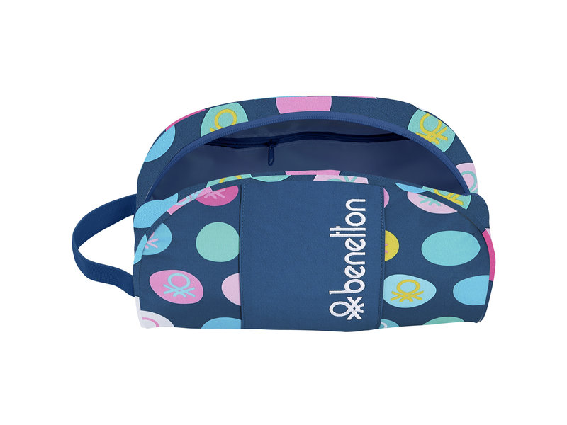 Benetton Polka Dots - Beauty Case - 26 x 16 x 9 cm - Blue