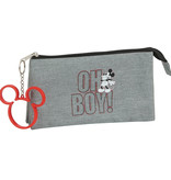 Disney Mickey Mouse Etui Oh Boy - 22 cm - Grijs
