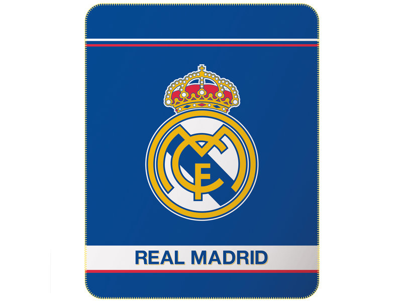 Real Madrid Fleeceplaid Logo - 110 x 140 cm - Blauw