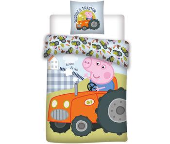 Peppa Pig Tractor baby dekbedovertrek 100 x 135 cm