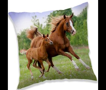 Animal Pictures Kussen Bruine Paarden 40x40