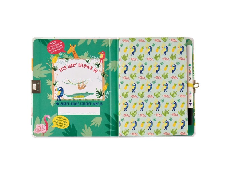 Floss & Rock Jungle Diary - Includes Lock and Pen - Multi