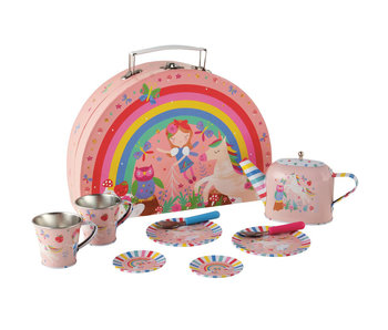 Floss & Rock Fairy Unicorn 9 pieces Tin tea set in case