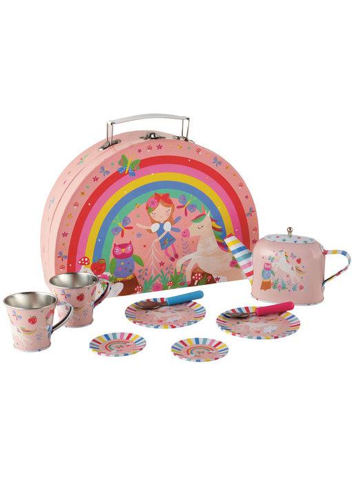 Floss & Rock Fairy Unicorn 9 pieces Tin tea set in case