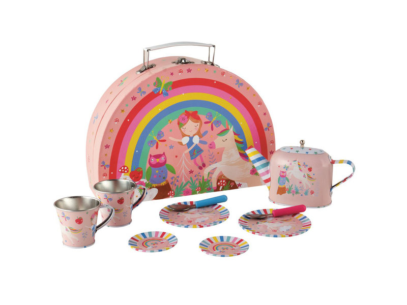 Floss & Rock Floss & Rock Fairy Unicorn 9 stuks Tinnen theeset in koffertje