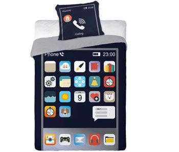 GSM Telefoon Dekbedovertrek Apps 140 x 200 cm