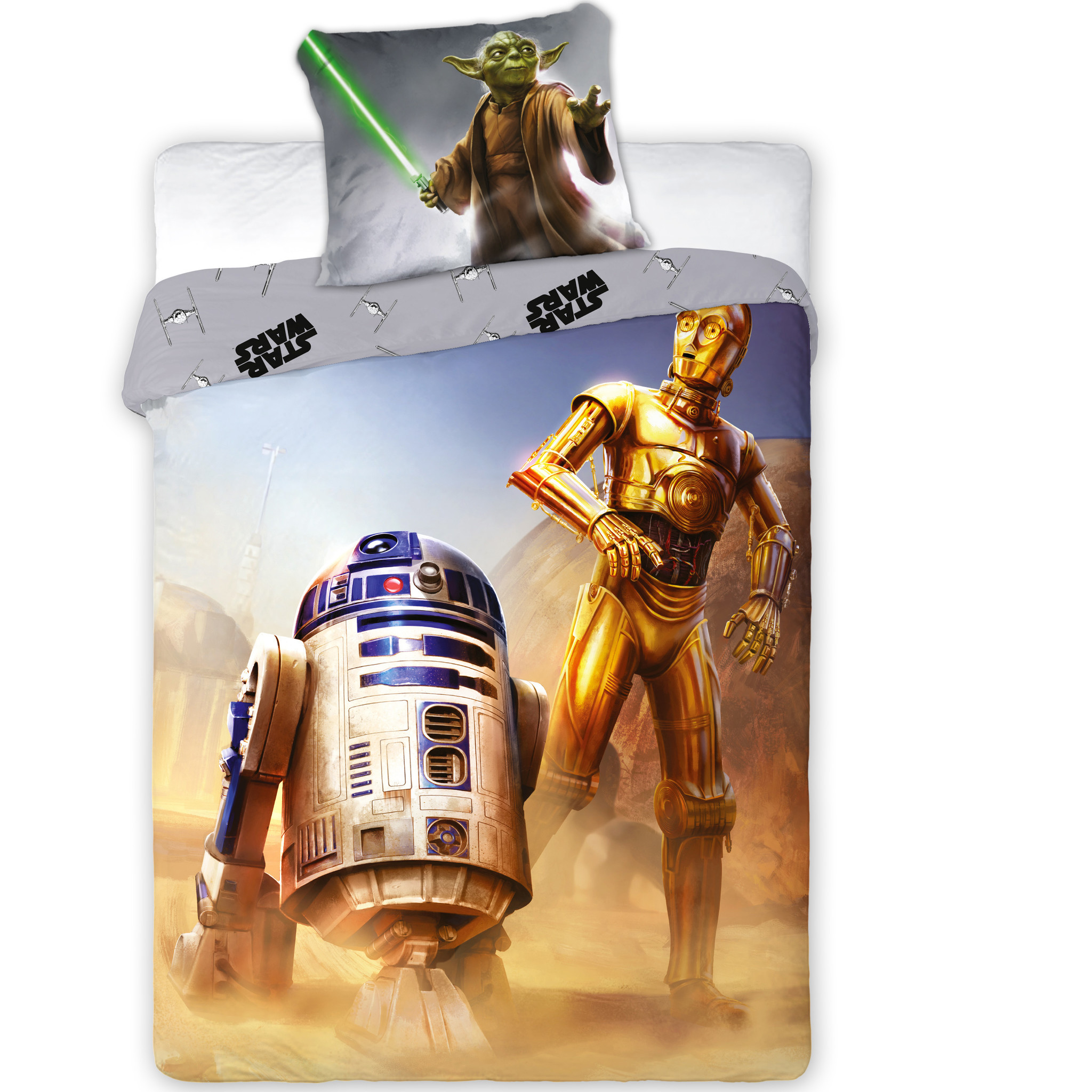 Housse de couette Star Wars R2-D2 - Unique - 140 x 200 + 70x90cm. 100% coton. - SimbaShop.nl