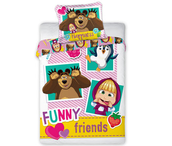 Masha en de Beer Funny Friends BABY Bettbezug 100X135 + 40X60cm
