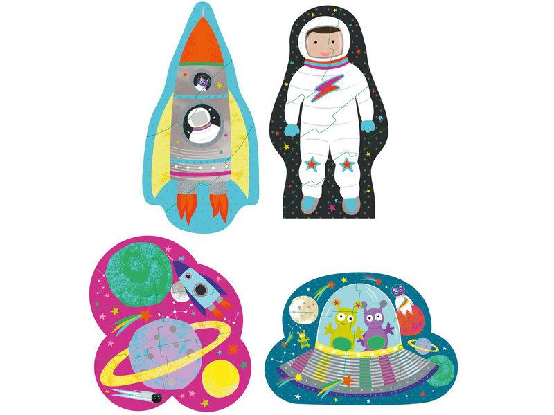 Floss & Rock Space - puzzles - 11 x 15 cm - 4 pcs