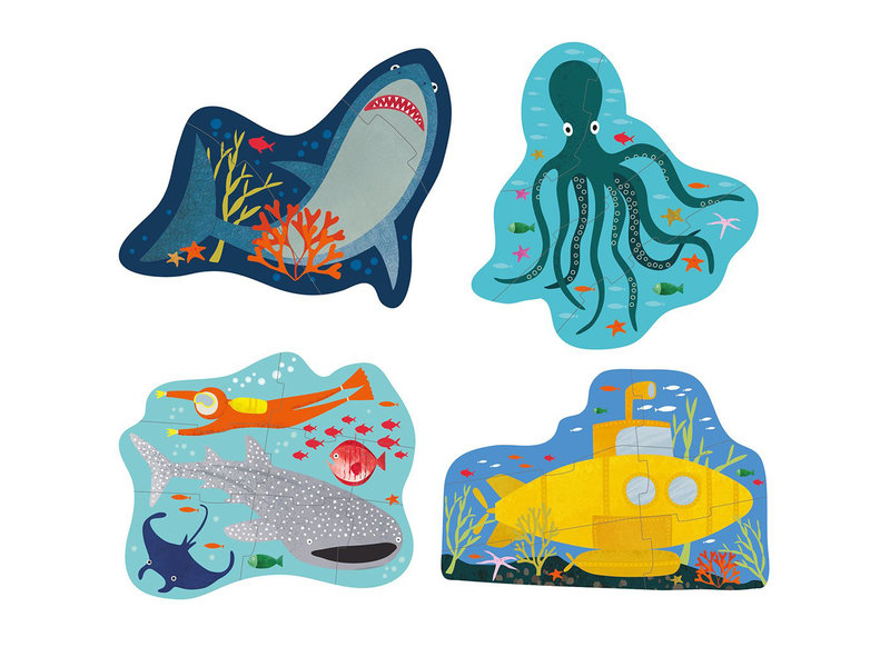 Floss & Rock Ocean - puzzles - 11 x 15 cm - 4 pcs