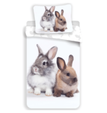 Animal Pictures Duvet cover Bunny Friends - Single - 140 x 200 cm - White