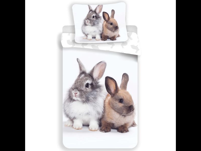 Animal Pictures Dekbedovertrek Bunny Friends - Eenpersoons - 140  x 200 cm - Wit