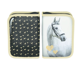 Animal Pictures Golden Horse filled pouch 19.5 cm