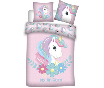 Unicorn Dekbedovertrek Flanel Rose 140 x 200