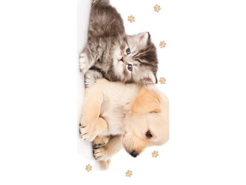 Animal Pictures Serviette de plage Puppy and Kitten - 70 x 140 cm - Multi