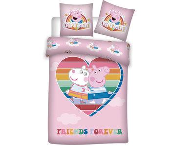 Peppa Pig Duvet cover Heart 140 x 200 Polyester