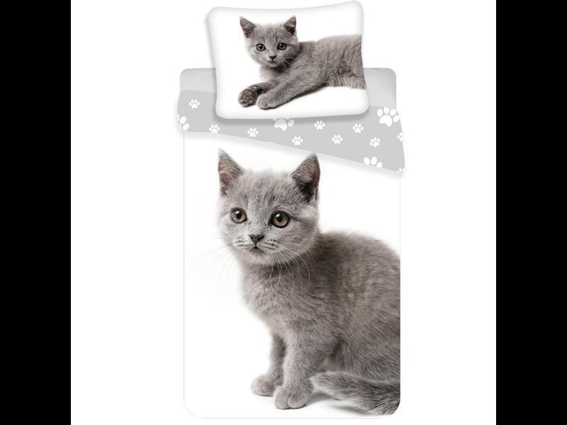 Animal Pictures Dekbedovertrek Grijze Kitten - Eenpersoons - 140  x 200 cm - Wit