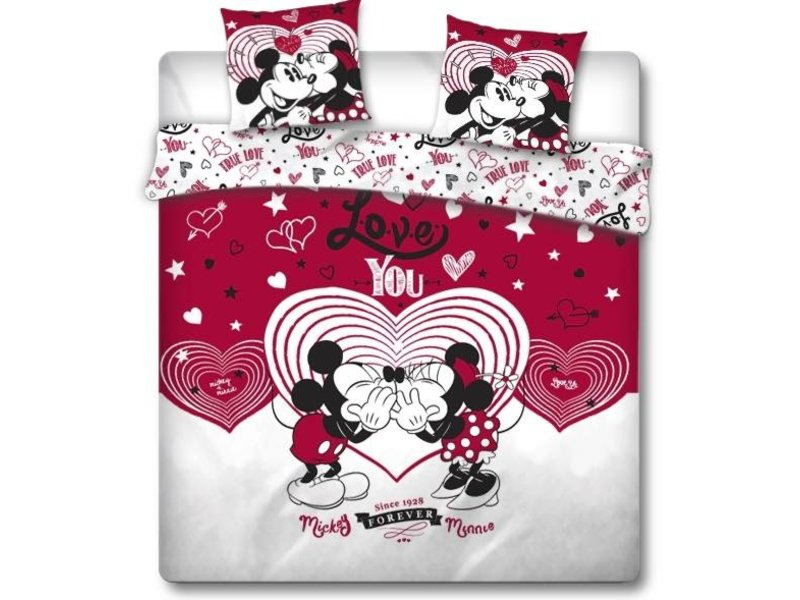 Disney Minnie Mouse Dekbedovertrek Love You - Lits Jumeaux - 240 x 220 cm - Rood