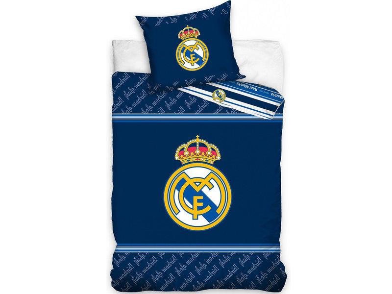 Real Madrid Housse de couette Logo - Unique - 140 x 200 cm - Bleu