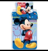 Disney Mickey Mouse Housse de couette Hello - Simple - 140 x 200 cm - Bleu