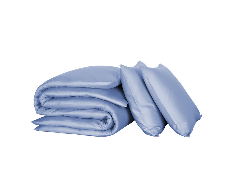 De Witte Lietaer Dekbedovertrek Katoen Satijn Olivia - Lits Jumeaux - 240 x 220 cm - Blauw