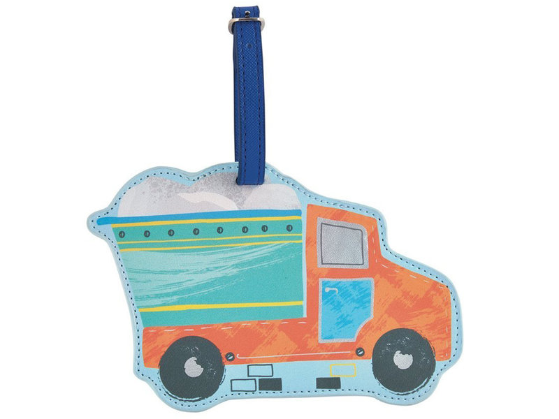 Floss & Rock Luggage Label Truck - 15.5 x 10 cm - With Name Tag