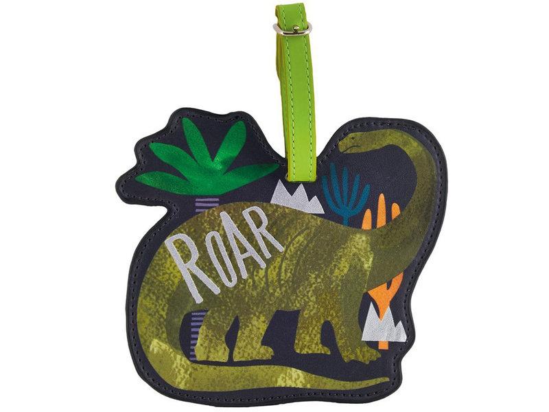 Floss & Rock Étiquette de bagage Dinosaure - 13,5 x 12 cm - Avec porte-nom