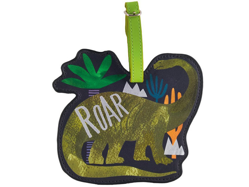 Floss & Rock Luggage Label Dinosaur - 13.5 x 12 cm - With Name Tag
