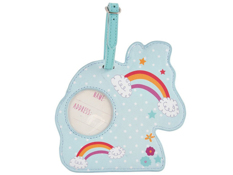 Floss & Rock Luggage Label Unicorn - 12.5 x 12.5 cm - With name tag
