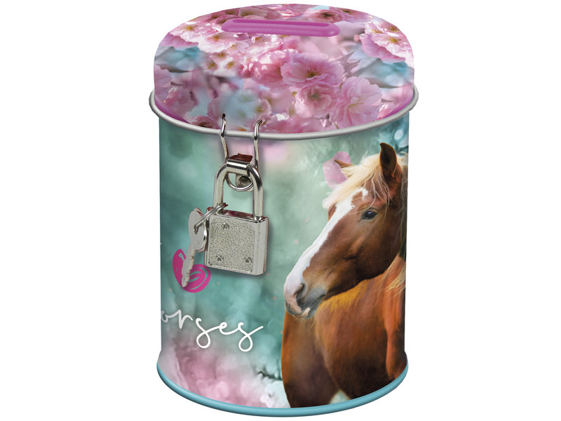 Animal Pictures Horse Money box with lock - 11.5 cm - Multi