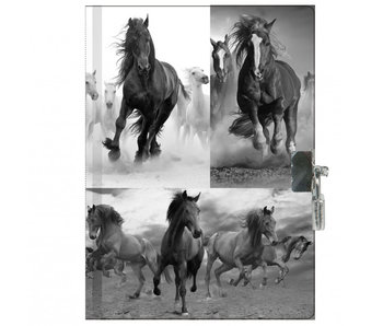 Animal Pictures Horse Diary with lock 15 x 20 cm