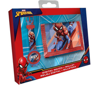 SpiderMan Stellen Sie Digitaluhr + Brieftasche ein
