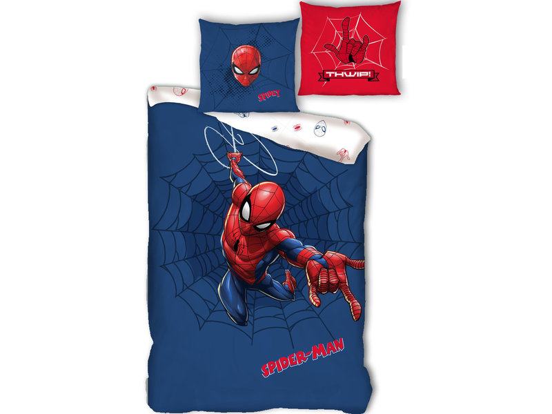 SpiderMan Housse de couette Web - Simple - 140 x 200 cm - Coton