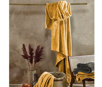 De Witte Lietaer Fleece Plaid Goldgelb 150 x 200 cm