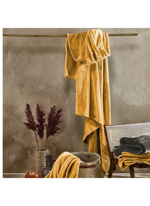 De Witte Lietaer Fleece plaid Golden Yellow 150 x 200 cm