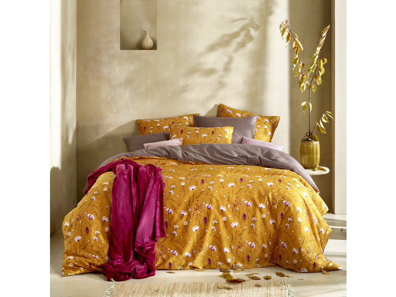 De Witte Lietaer Duvet cover Cotton Satin Fleur - Lits Jumeaux - 240 x 220 cm - Yellow