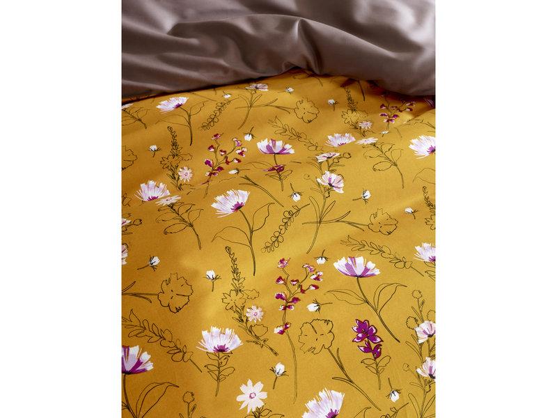 De Witte Lietaer Housse de couette Cotton Satin Fleur - Taille de l'hôtel - 260 x 240 cm - Jaune