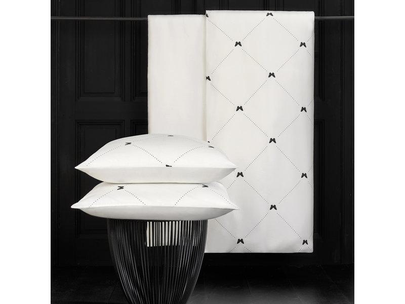 De Witte Lietaer Duvet cover Cotton Satin Butterflies - Lits Jumeaux - 240 x 220 cm - White