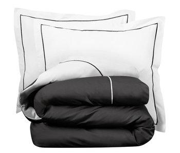 De Witte Lietaer Bettbezug Baumwolle Perkal Bumblebee Weiß / Dunkelgrau 200 x 200/220 cm