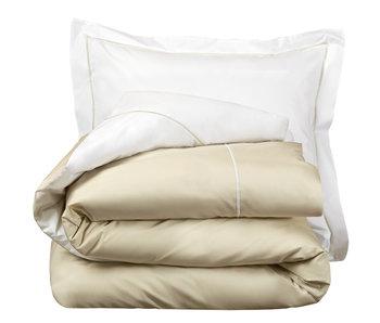 De Witte Lietaer Bettbezug Cotton Perkal Bumblebee Weiß / Beige Sand 200 x 200/220 cm