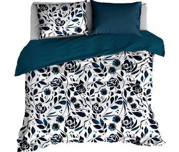 De Witte Lietaer Bettbezug Baumwolle Satin Wiese Indigo 260 x 240 cm