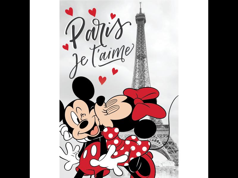 Disney Minnie Mouse Fleece deken Paris - 100 x 150 cm - Grijs