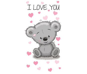 Teddybeer I love you strandlaken 140 x 70 cm