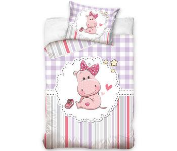 Nijlpaard BABY Bettbezug Pink 100 x 135 cm