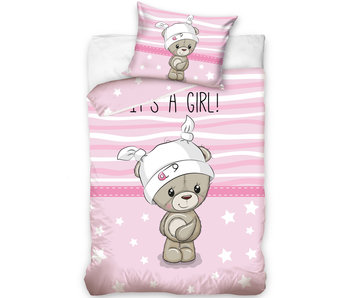 Teddybeer BABY Dekbedovertrek Roze 100 x 135 cm