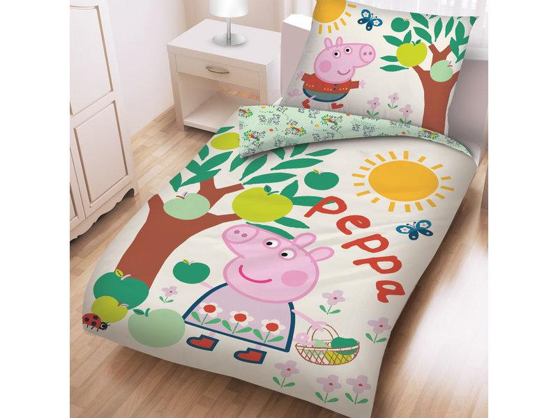 Peppa Pig Dekbedovertrek Appelboom  - Eenpersoons - 140  x 200 cm - Katoen
