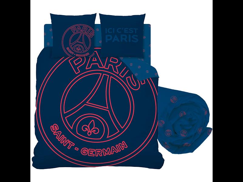Paris Saint Germain Duvet Cover Set Neored - Double - Including Fitted Sheet - Cotton